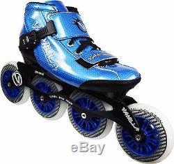 Blue VNLA Carbon Inline Speed Skates 4 X 100mm Wheels Size 1-13