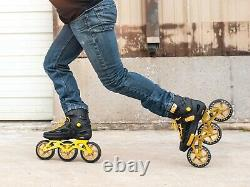 EPIC ENGAGE II 3 WHEEL INLINE SPEED SKATES Black and Gold 125 MM SIZE 12