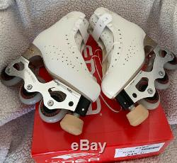 Edea Ritmo skate boots 245 Inline Snow White frames Speed Max wheels (Pic Skate)