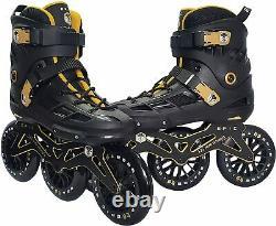 Epic Engage Black & Gold Indoor/Outdoor 125mm 3-Wheel Speed Inline Skates Sz 12