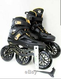 Epic Engage II Black & Gold Indoor Outdoor 125mm 3-Wheel Inline Speed Skates