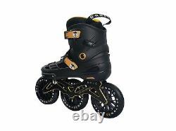 Epic Skates 125mm Engage 3-Wheel Inline Speed Skates Black/Gold Adult 7