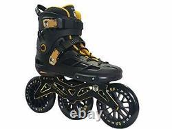 Epic Skates Epic Engage 125mm 3-Wheel Inline Speed Skates Black/Gold Adult 10
