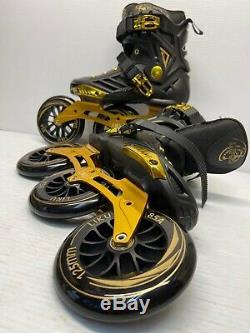 LIKU Black&Gold Performance 125 3WD Speed Inline Skates Unisex Size M 5.5/W 6.5
