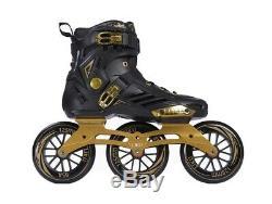 LIKU Performance 125 3WD Speed Inline Skates BlackGold Racing Skate Size