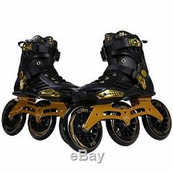 LIKU Performance 125 3WD Speed Inline Skates Black&Gold Racing Skate for Men