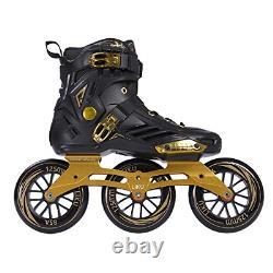 LIKU Performance 125 3WD Speed Inline Skates Black&Gold Racing Skate for Men and