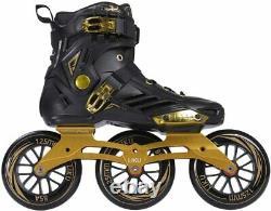 LIKU Performance 125 3WD Speed Inline Skates Unisex Black & Gold SZ. M-8.5/W-9.5