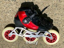 Luigino Kids Mini Challenge 3 Wheel Adjustable Inline Speed Skate Size 2-5 Red