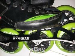 Luigino Strut Black Inline Speed Skates Size 8 Pilot Striker Frame Atom Wheels