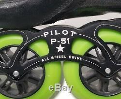 Luigino Strut Inline Pilot P-51 AWD Speed Skates with Atom Wheels Size 13