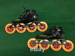 Luigino Strut Inline Speed Race Skates Size 8 Pilot Striker Green Black Boot