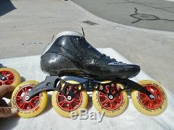 Luigino Strut Inline Speed Skates Size 12 Fox Tiger 13.2x4x100 Excellent Shape