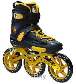 Mens Epic Engage Black & Gold Indoor / Outdoor 125mm 3-Wheel Inline Speed Skates