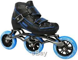 New! Blue & Black Warp Adjustable Inline Speed Skates 90mm & 100mm Wheels