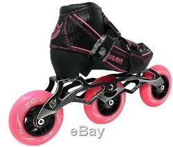 New! Pink & Black Warp Adjustable Inline Speed Skates 90mm & 100mm Wheels
