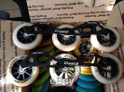 PILOT STRIKER RACE INLINE SPEED SKATE FRAME + 4 110mm Wheelsets
