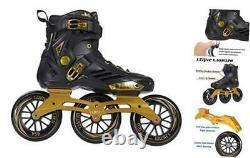 Performance 125 3WD Speed Inline Skates Unisex Men 8.5/Women 9.5 Black&Gold