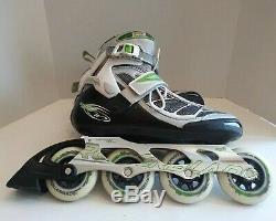 Rollerblade Tempest 90 W Inline Speed Skates US Womens 10 Black Green & Silver