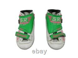 Simmons Racing Boots Inline Speed Skates Shoes White/Green/Pink sz 5 N Handmade