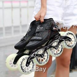 Speed Inline Skates Carbon Fiber 490/100/110mm Competition Skates 4 Wheels