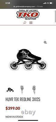 TKO Racing Inline Speed Skates Size 10 HUVR TEK REDLINE 3X125 Retail 400+