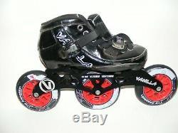 Vanilla Kids Inline Speed Skates, 3 Wheel, Size 1, Black