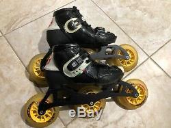 Youth Inline Speed Skates Luigino Kid's Challenge Adjustable Size 2-5, 3 wheel
